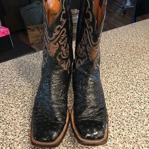 Lucchese Ostrich Square Toed Boots Women's size 10